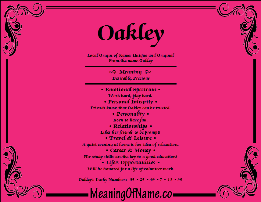 Meaning of Name Oakley