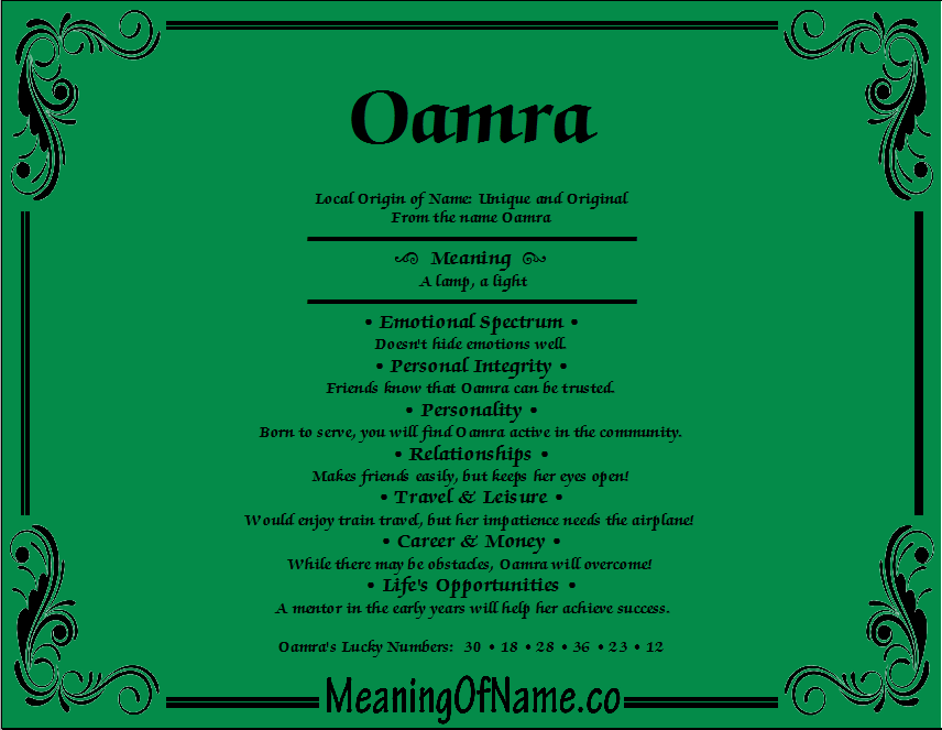 Meaning of Name Oamra