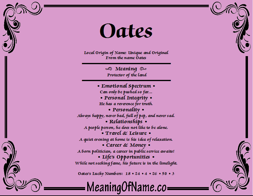 Meaning of Name Oates
