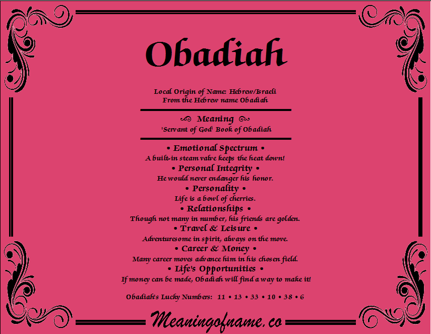 Meaning of Name Obadiah
