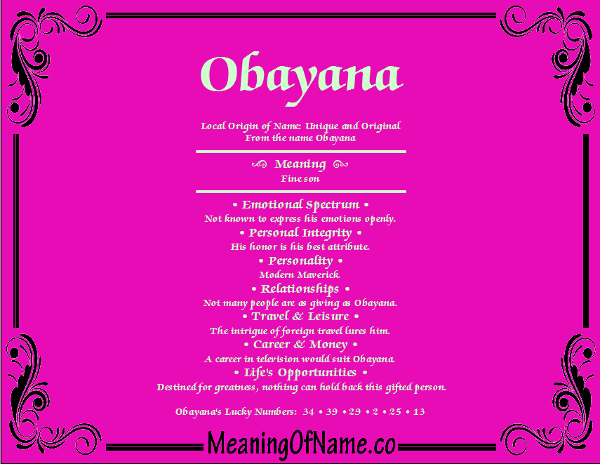 Meaning of Name Obayana