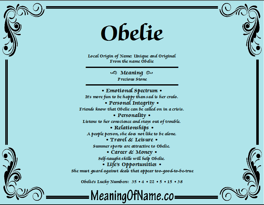Meaning of Name Obelie