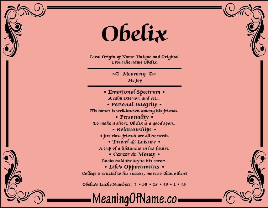 Meaning of Name Obelix