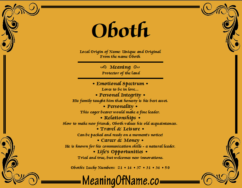 Meaning of Name Oboth