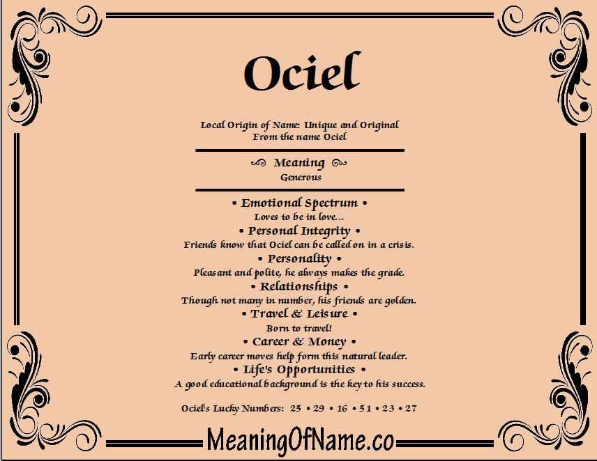 Meaning of Name Ociel