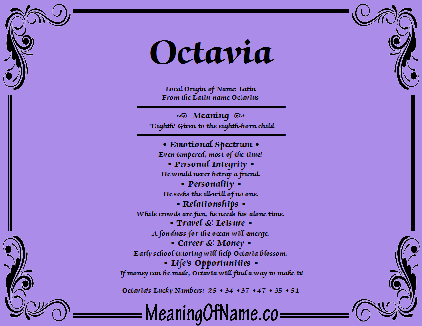 Meaning of Name Octavia