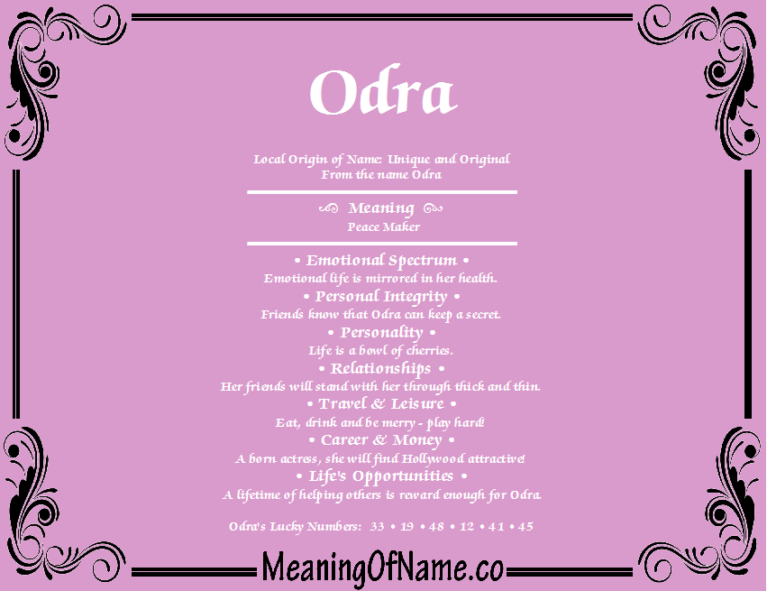 Odra meaning of name meaning of name odra stopboris Images