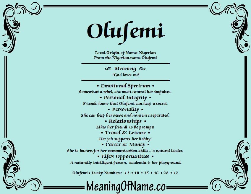 Meaning of Name Olufemi