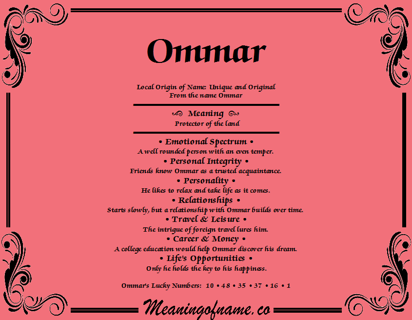Meaning of Name Ommar