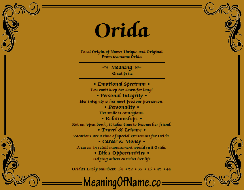 Meaning of Name Orida