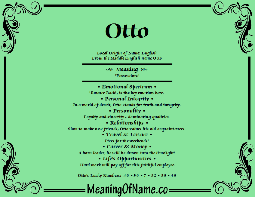 Meaning of Name Otto