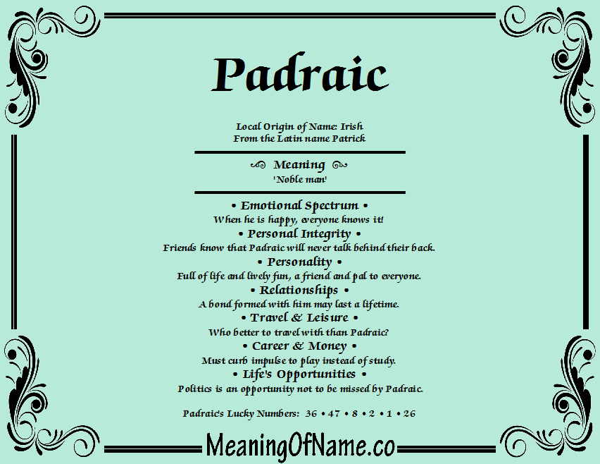 Meaning of Name Padraic