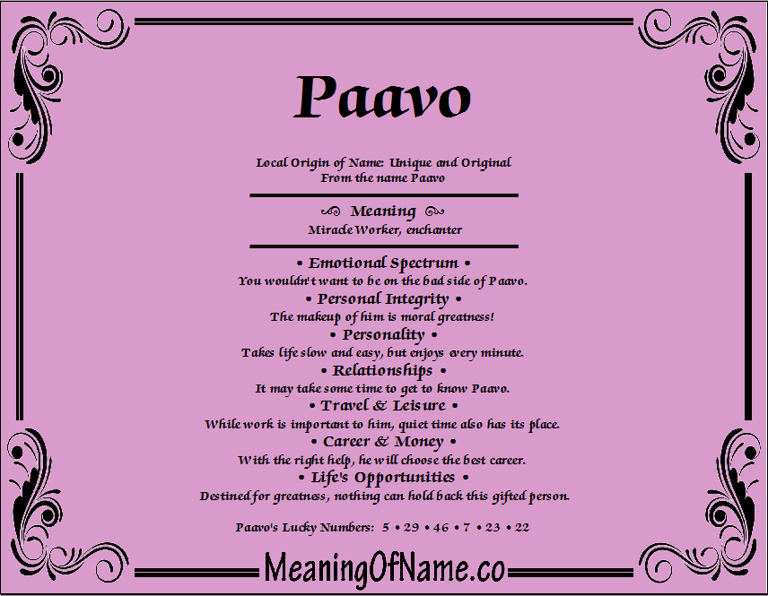 Meaning of Name Paavo