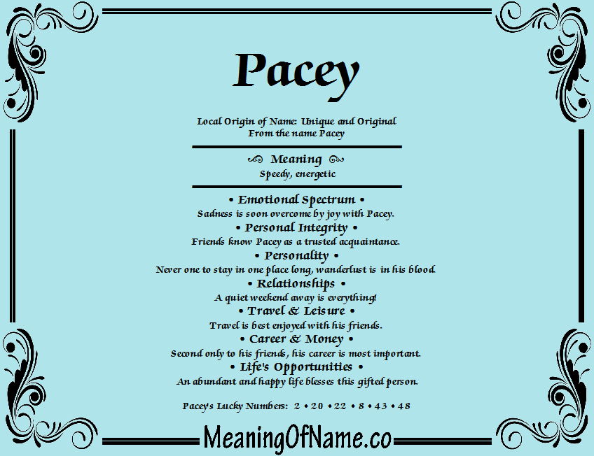 Meaning of Name Pacey