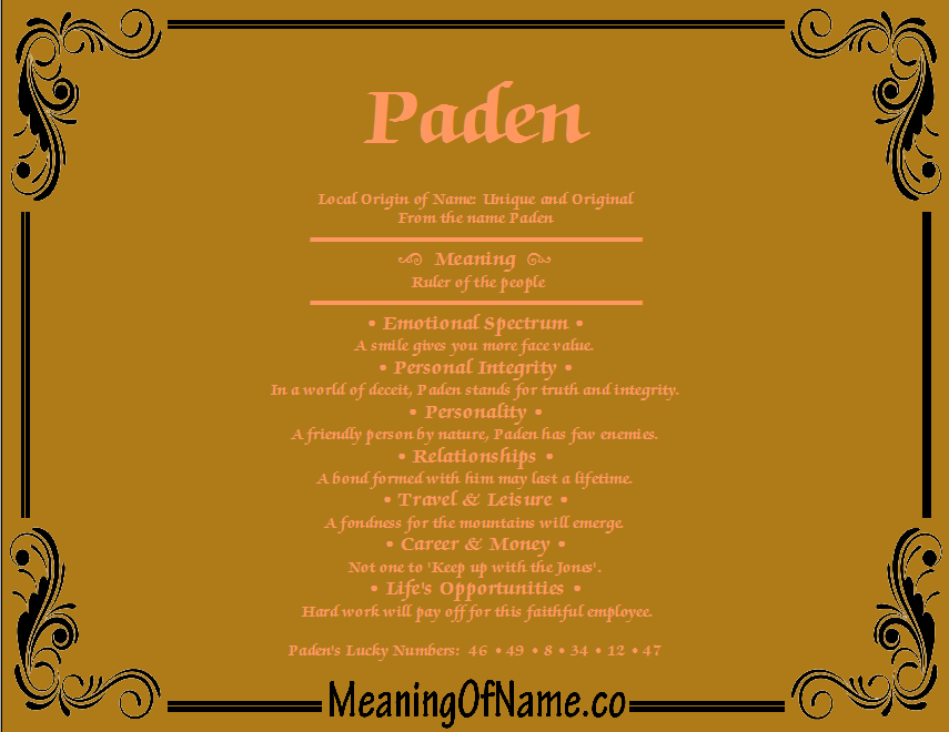 Meaning of Name Paden