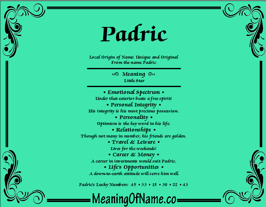 Meaning of Name Padric
