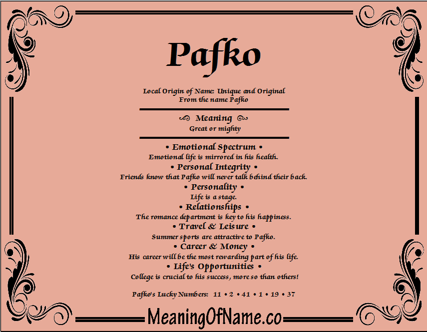 Meaning of Name Pafko