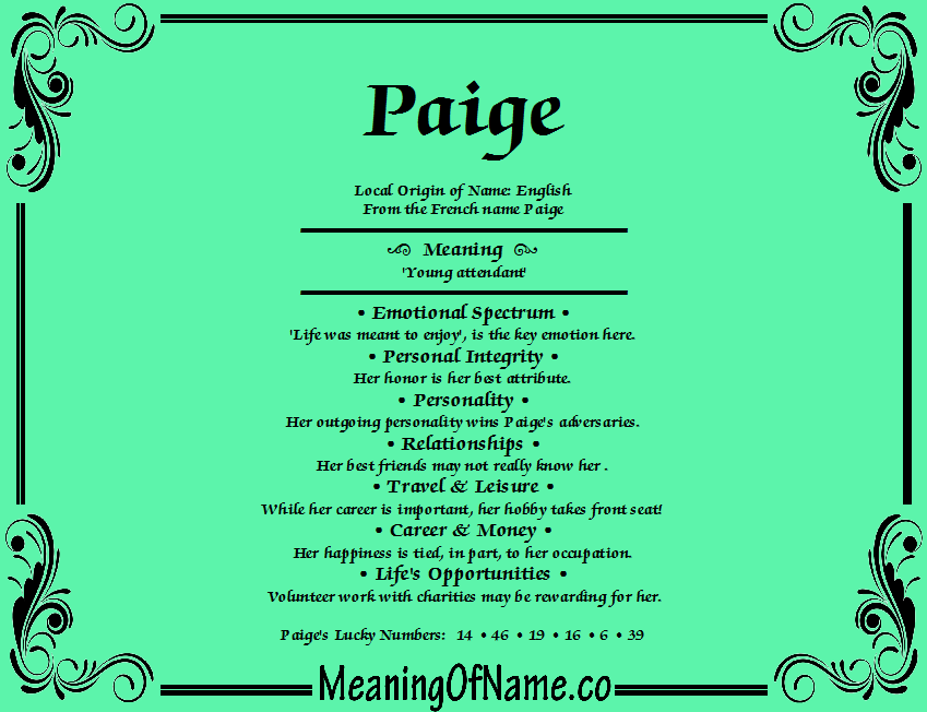 Paige - Meaning of Name