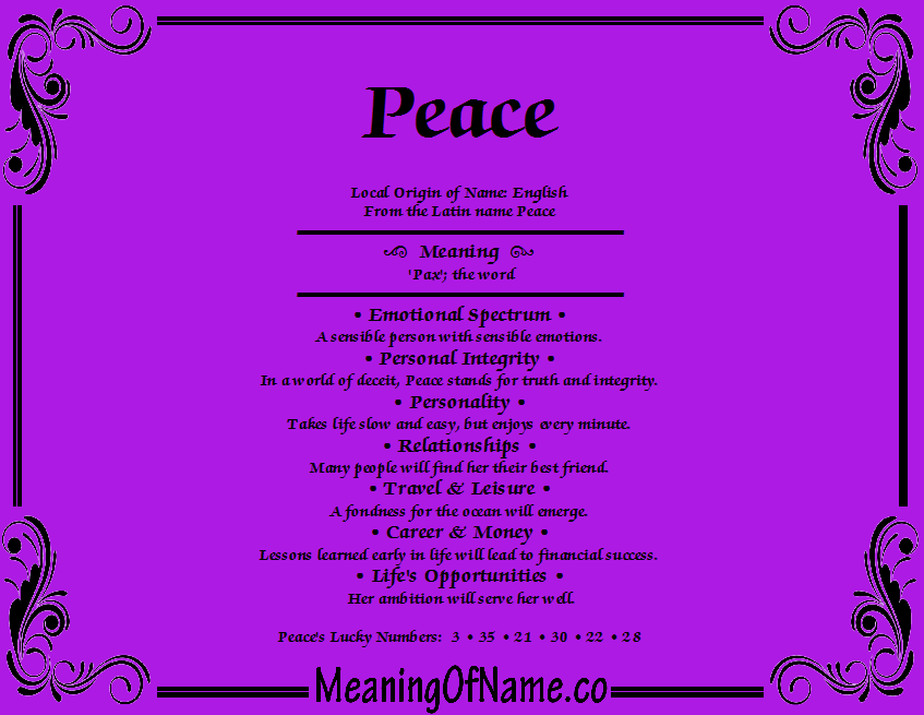 Meaning of Name Peace