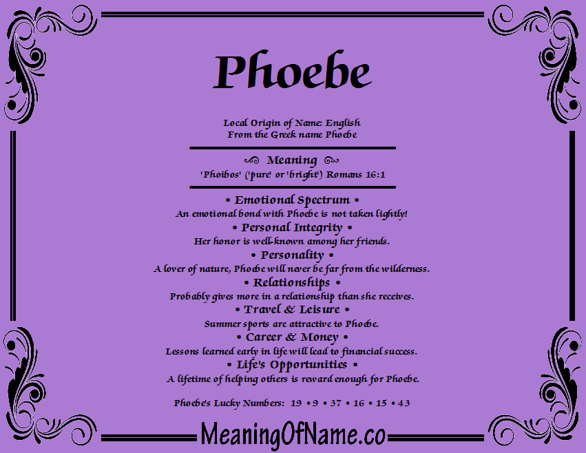 Phoebe - Meaning of Name