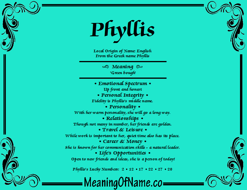 Meaning of Name Phyllis