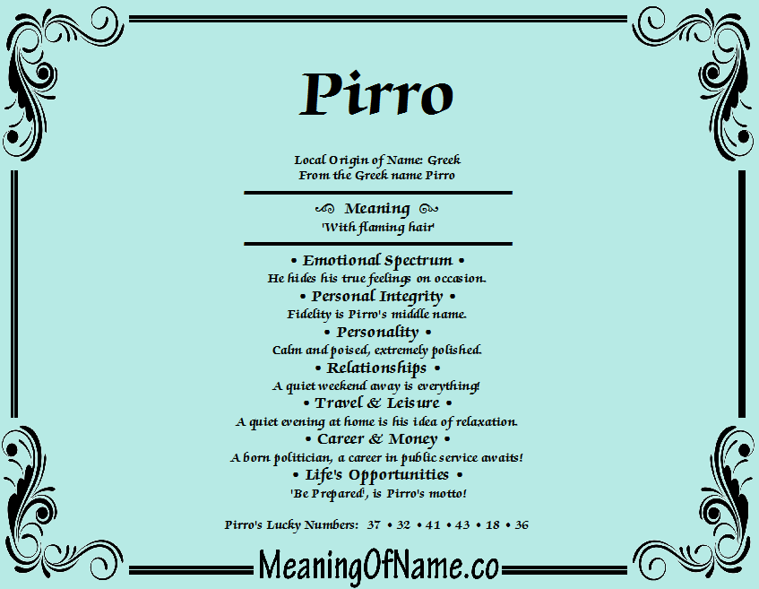 Meaning of Name Pirro