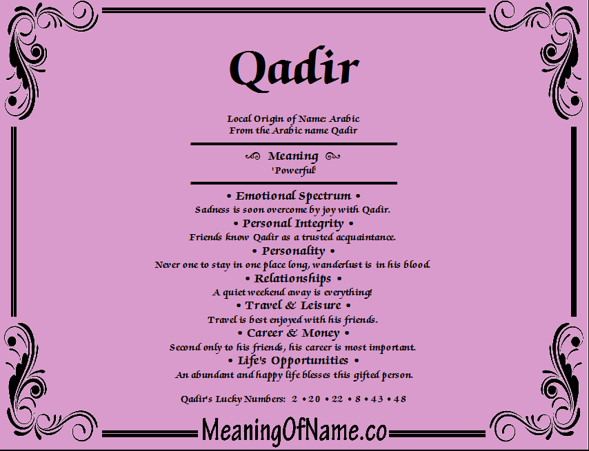 Meaning of Name Qadir