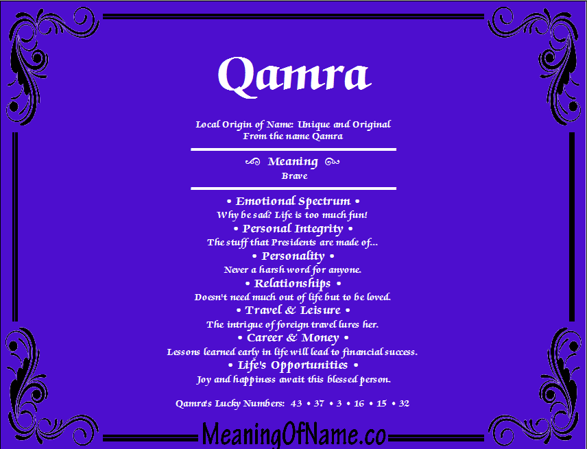 Meaning of Name Qamra
