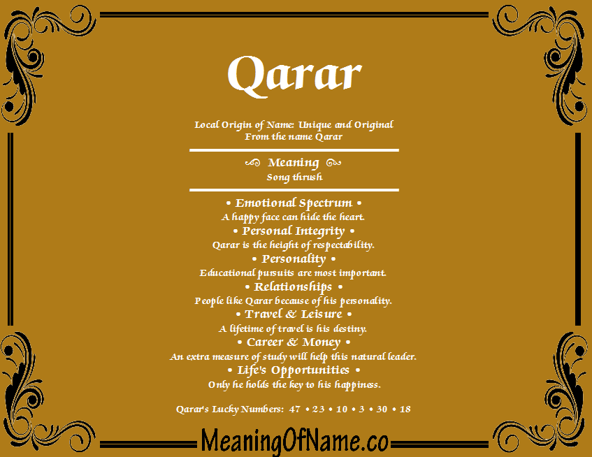 Meaning of Name Qarar
