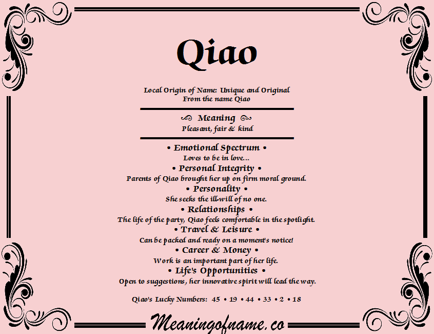 Meaning of Name Qiao