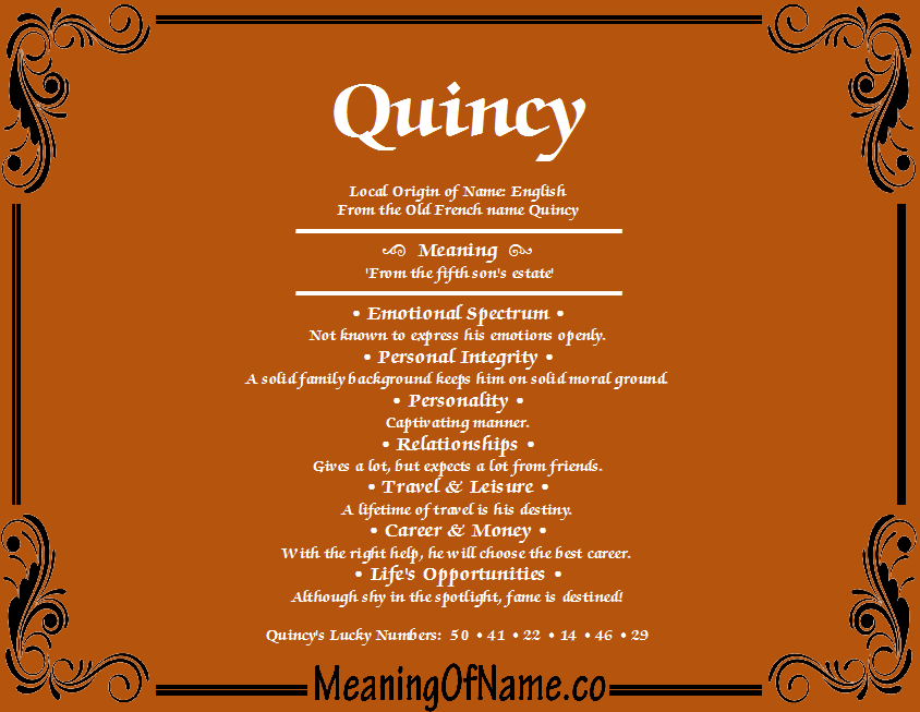 Quincy - Meaning of Name