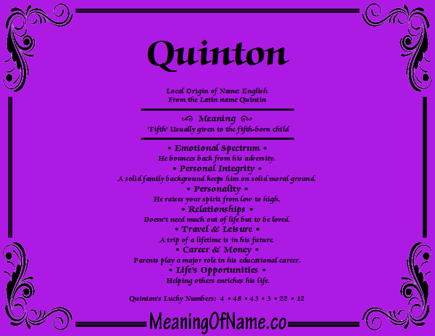 WHERE DOES THE NAME QUINTON ORIGINATE FROM