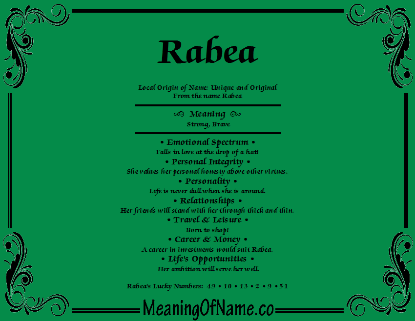 Meaning of Name Rabea