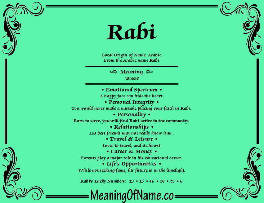 Meaning of Name Rabi