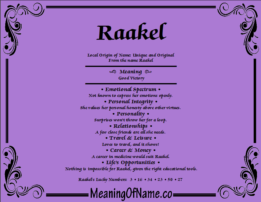 Meaning of Name Raakel