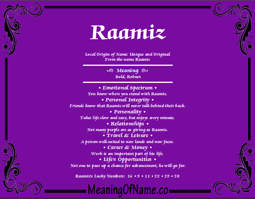 Meaning of Name Raamiz