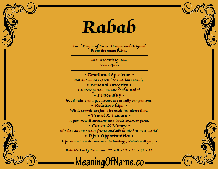 Meaning of Name Rabab