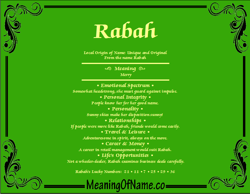 Meaning of Name Rabah