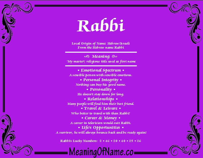 Meaning of Name Rabbi