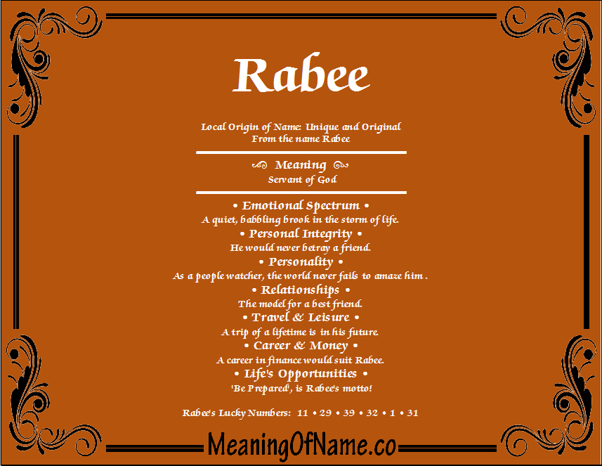 Meaning of Name Rabee