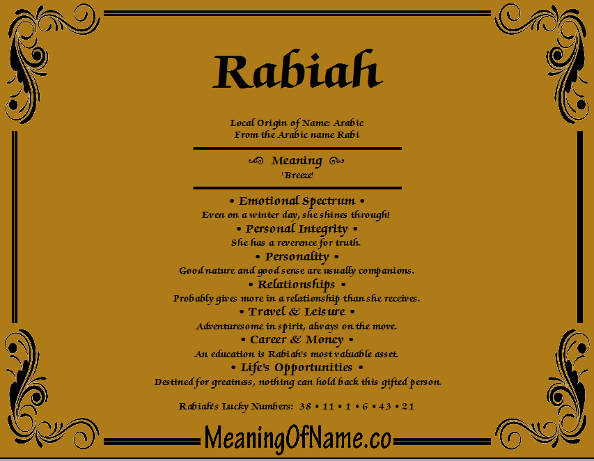 Meaning of Name Rabiah