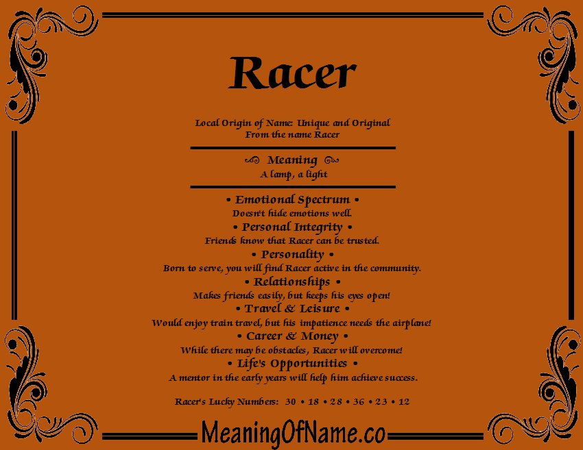 Meaning of Name Racer