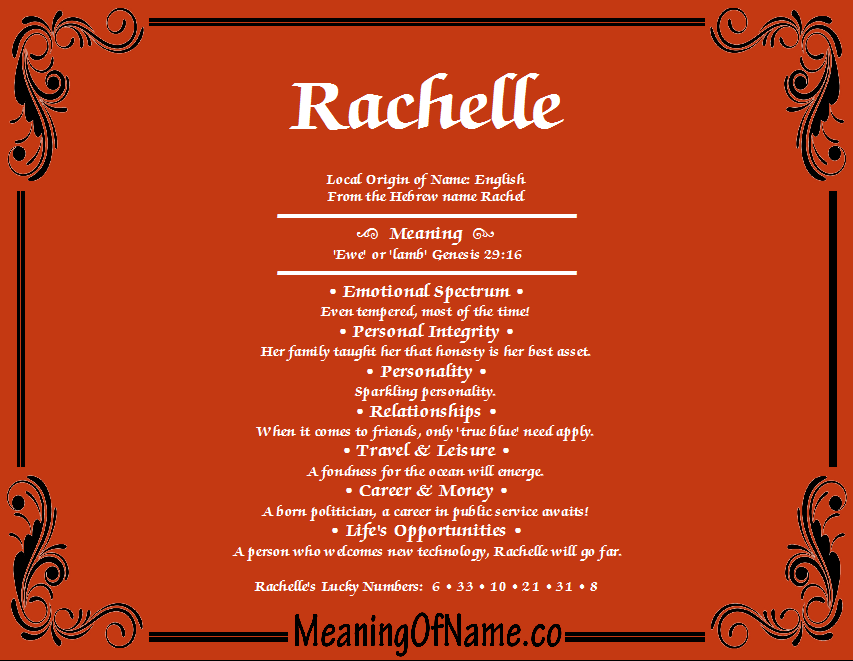Meaning of Name Rachelle