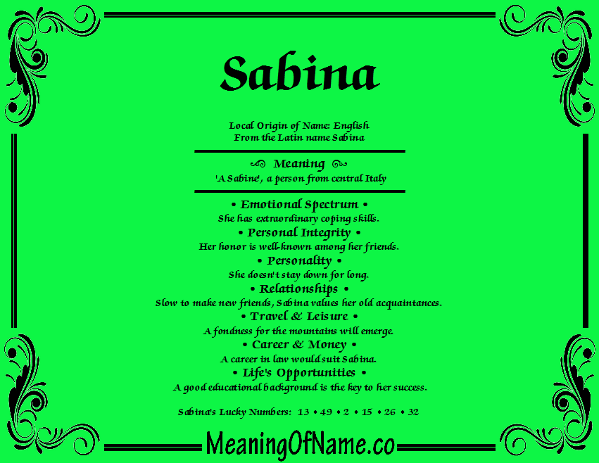 Meaning of Name Sabina