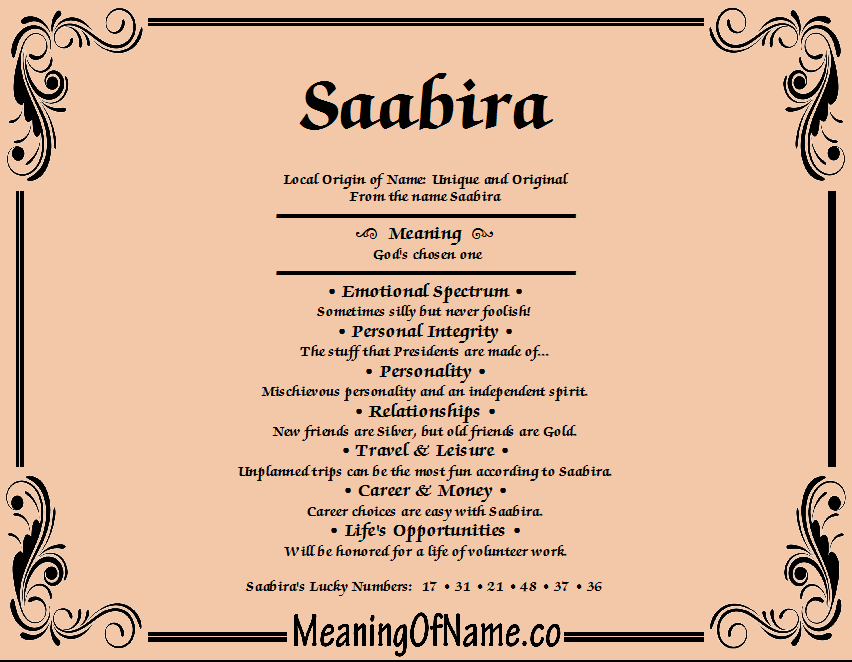 Meaning of Name Saabira