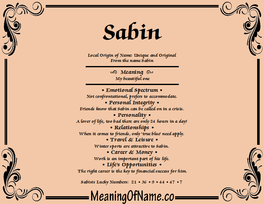 Meaning of Name Sabin