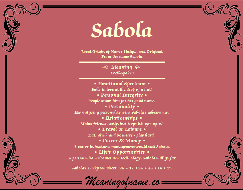 Meaning of Name Sabola