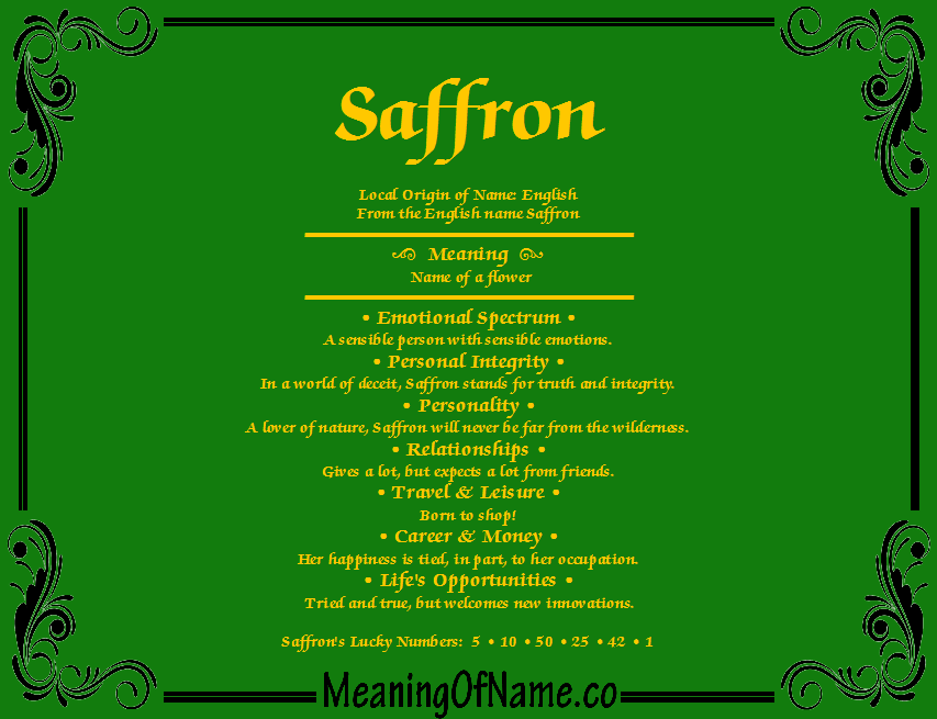 Saffron Meaning Of Name