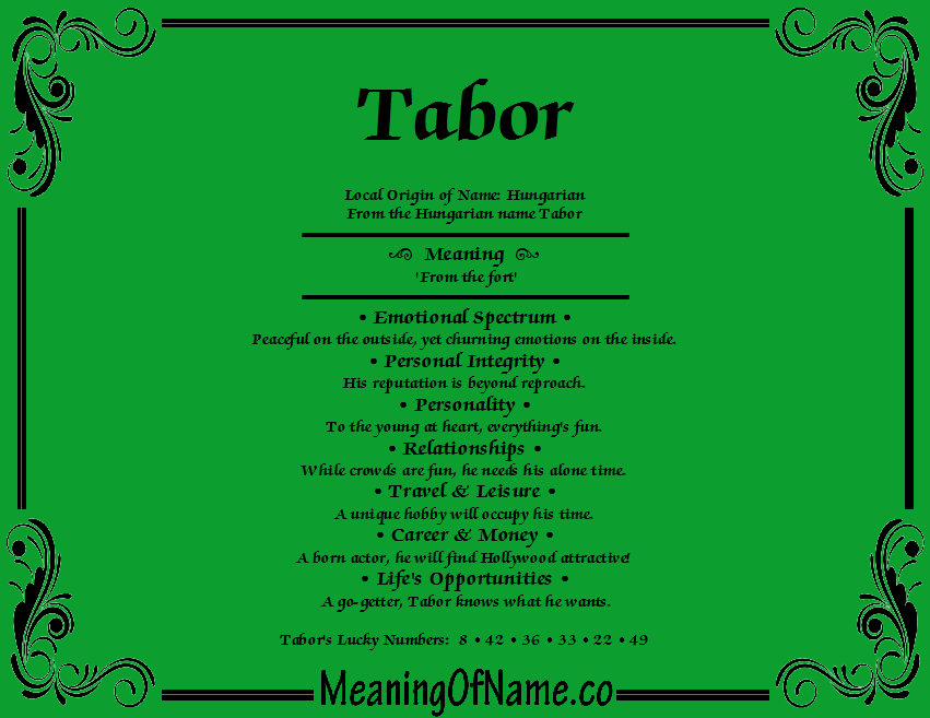 Meaning of Name Tabor