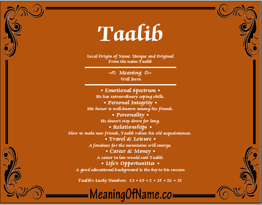 Meaning of Name Taalib